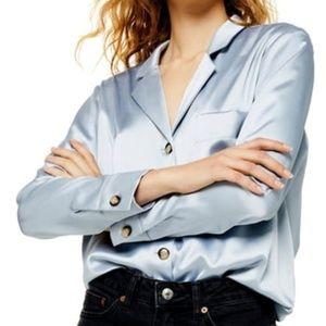 Topshop Tops - TOPSHOP Silver Satin Button-Up Shirt